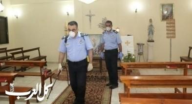 الشرطة الفلسطينية تواصل تعقيم المساجد والكنائس