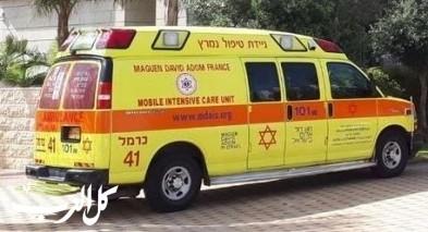 إصابة شاب اثر سقوطه عن ارتفاع في الحصباني