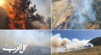 استمرار أعمال اخماد حريق أحراش الكرمل