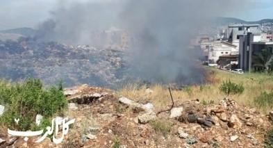 سخنين  حريق متاخم للمنازل في حي الغدير