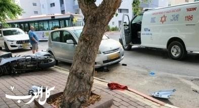 نهاريا: إصابة راكب دراجة نارية إثر إصطدام سيارة به