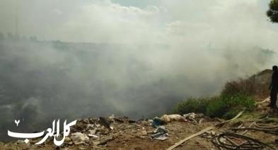إندلاع حريق هائل في مكب للنفايات في قلنسوة