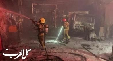 حريق هائل في مصنع في كريات آتا