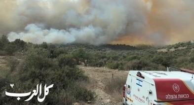 وادي عارة: حريق ضخم بمنطقة حرشية