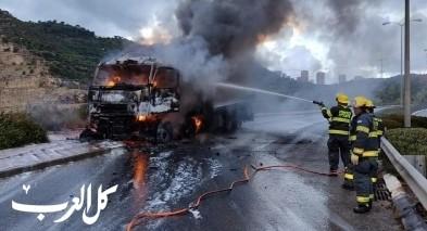 اندلاع حريق بشاحنة على طريق جامعة حيفا دون اصابات