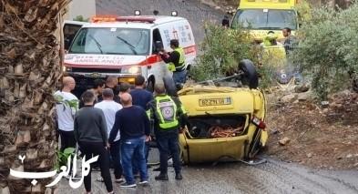 سخنين: اصابة سيدة اثر انقلاب سيارة