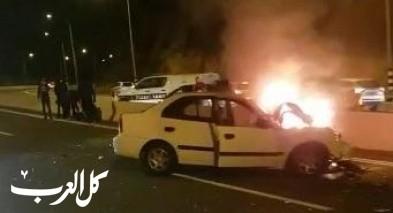10 اصابات في حادث طرق مروّع على مفترق البعينة واندلاع النيران في احدى المركبات