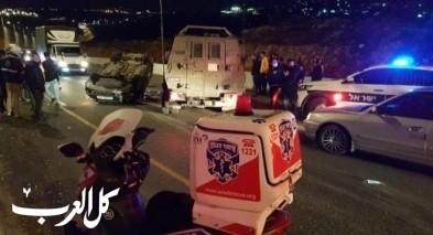 القدس: اصابة شابين بانقلاب سيارة قرب العيسوية