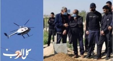 تل السبع| طائرة مروحية تزعج المشاركين في جنازة الحاجة سعاد