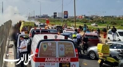 اصابة 4 اشخاص اثر حادث طرق على شارع 20
