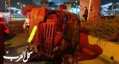 اصابة 3 اشخاص بانقلاب سيارة في حيفا
