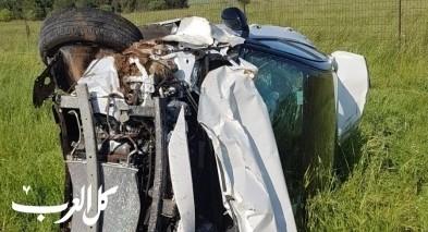 اصابة 4 اشخاص اثر انقلاب سيارة في الجولان