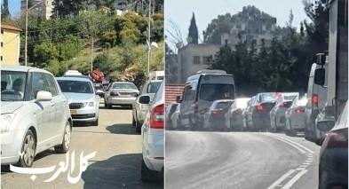 ازدحامات مرورية خانقة في منطقة الناصرة