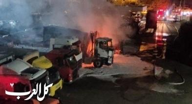 اندلاع النيران بعدد من الشاحنات في حيفا