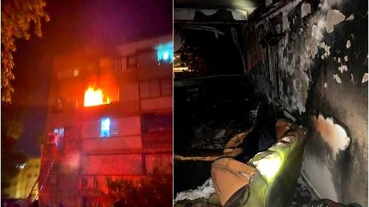 إنقاذ ثلاثة أطفال من داخل شقة مشتعلة في اللد