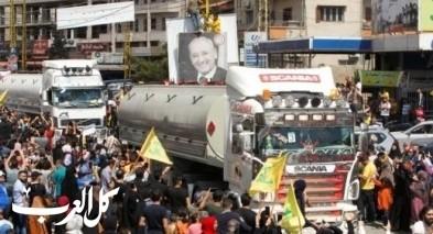 حزب الله يستعرض قوافل الوقود الإيراني بعد دخولها إلى لبنان عبر سوريا