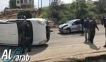 كفركنا: حادث طرق وانقلاب سيارة على الشارع الرئيسي
