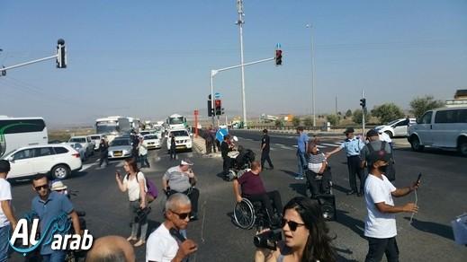 إغلاق شارع 65 خلال مظاهرة لذوي الاحتياجات الخاصة
