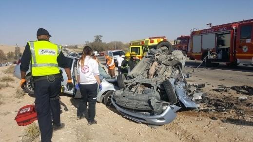 الجنوب: 3 قتلى جرّاء حادث طرق قرب ديمونا