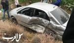 اصابات بحادث طرق بين سيارة اسعاف وسيارة خصوصية