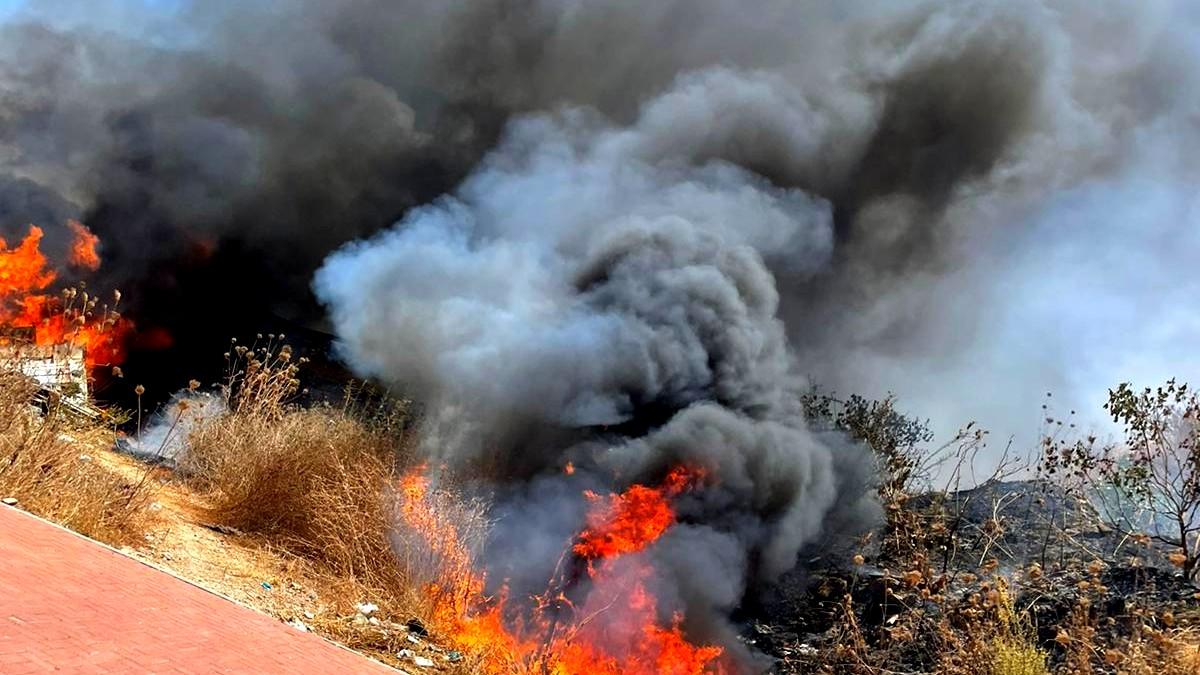 اندلاع حريق كبير في مدينة الطيبة