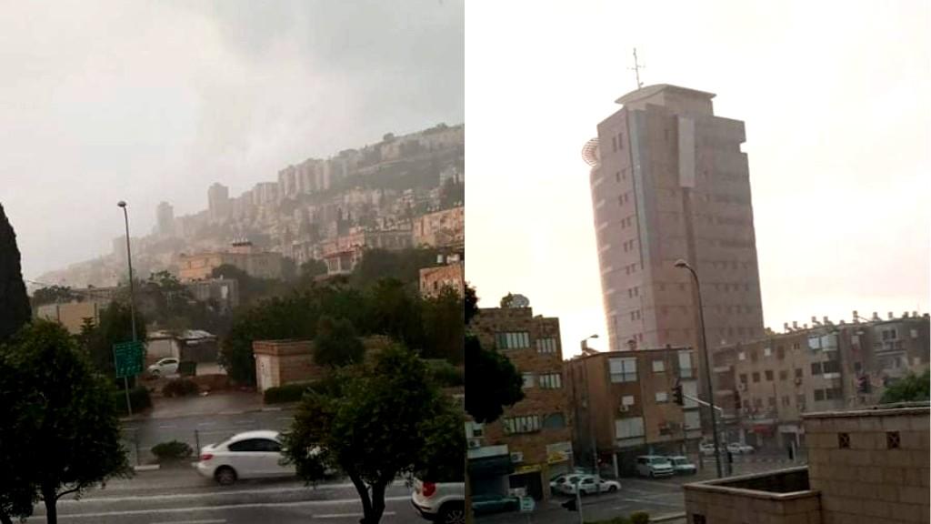 شاهدوا  أمطار الصيف تهطل في حيفا