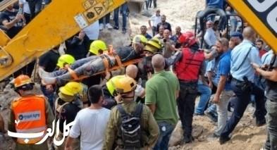 حادثة الانهيار بكفركنا: إنقاذ العامل وإحالته للعلاج وإغلاق شارع 754 تخوفًا من انهيار جديد
