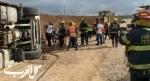 انقلاب شاحنة في كريات جات وإصابة سائقها بجراح