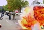انفجار لكن مزحة - فيديو مقلب انفجار اسطوانة غاز اونلاين 2015